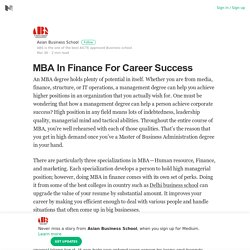 MBA In Finance For Career Success