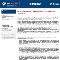 Le financement de l'investissement par crédit-bail