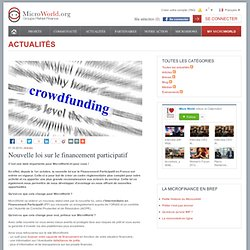 Nouvelle loi sur le financement participatif