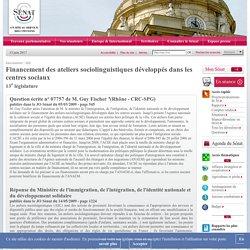 Financement des ateliers sociolinguistiques développés dans les centres sociaux - Sénat