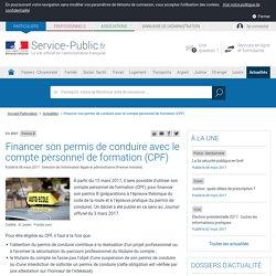Permis B -Financer son permis de conduire avec le compte personnel de formation(CPF)