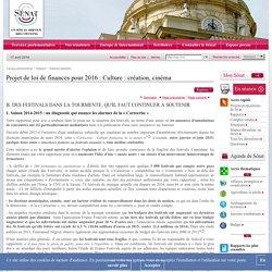 Projet de loi de finances pour 2016 : Culture : création, cinéma