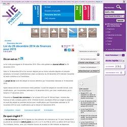 Projet de loi de finances pour 2015, budget 2015.Projet de loi de finances pour 2015