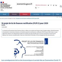 3è projet de loi de finances rectificative (PLFR 3) pour 2020