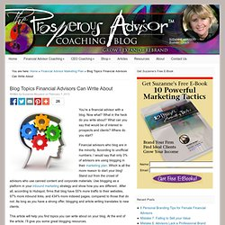 Blog Topics Financial Advisors Can Write About