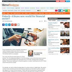 Fintech—A brave new world for financial sector? - Daily Mirror - Sri Lanka Latest Breaking News and Headlines