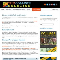 Financial Aid Bait and Switch? | The College Solution