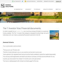 Tier 1 Investor Visa: Financial documents - Manns Solutions -