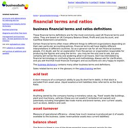 financial terms explained - free glossary