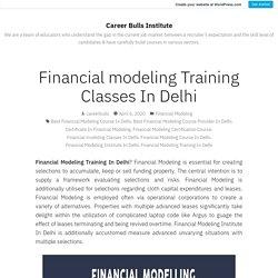 Financial modeling Training Classes In Delhi