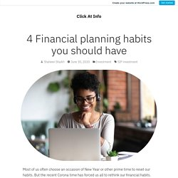 4 Financial planning habits you should have