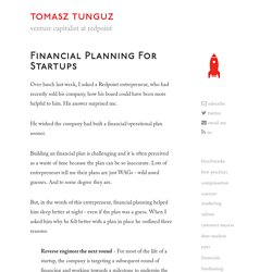 Financial planning for startups