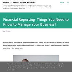 Financial Reporting- Things You Need to Know to Manage Your Business?