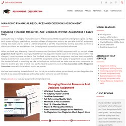 Managing Financial Resources And Decisions MFRD Assignment Writers UK
