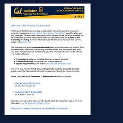 Financial Aid Estimator - UC Berkeley Financial Aid and Scholarships Office