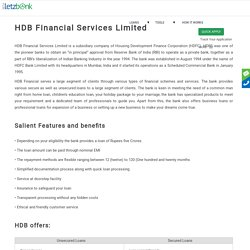 Get Loan from HDB Financial Services Limited