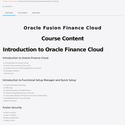Oracle Fusion Financials Technical Training