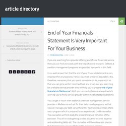 End of Year Financials Statement Is Very Important For Your Business