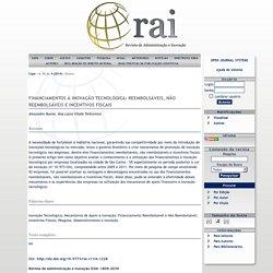 FINANCIAMENTOS À INOVAÇÃO TECNOLÓGICA: REEMBOLSÁVEIS, NÃO REEMBOLSÁVEIS E INCENTIVOS FISCAIS