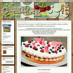 CAMELIE: Entremet fruits rouges / vanille (financier aux myrtilles, crème vanillée, disque de chocolat blanc et chantilly au mascarpone)