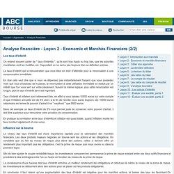 Analyse financière - Leçon 2 - Economie et Marchés Financiers (2/2)