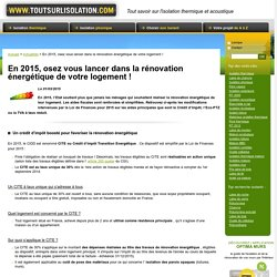 Aides financières pour la rénovation énergétique en 2015