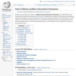 Liste d'affaires politico-financières françaises | Wikipédia
