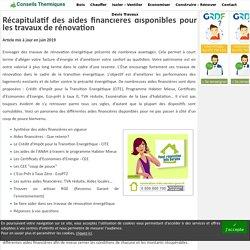 Aides financières travaux - Conseils Thermiques