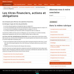 Les titres financiers, actions et obligations - Memo Compta
