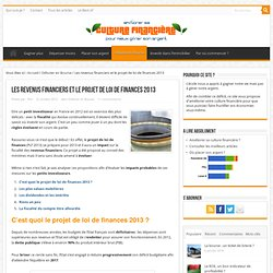 Les revenus financiers et le projet de loi de finances 2013