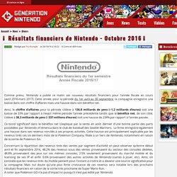 Résultats financiers de Nintendo - Octobre 2016 - Génération Nintendo