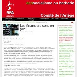 9 jan. 2021 Les financiers sont en joie - NPA - Comité de l'Ariège