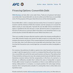 Financing Options: Convertible Debt