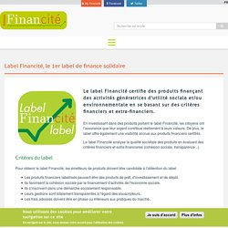 Label Financité, le 1er label de finance solidaire
