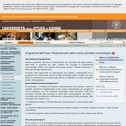 Programma NATO per il finanziamento della ricerca scientifica e tecnologica — Università di Udine