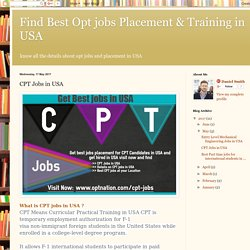 Latest CPT Jobs in USA