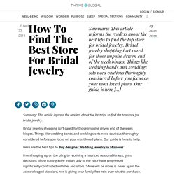 How To Find The Best Store For Bridal Jewelry