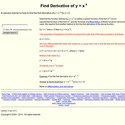 Find Derivative of y = x^x