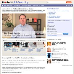 How to Find Job Descriptions Online Video