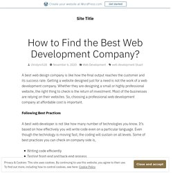 How to Find the Best Web Development Company?