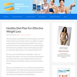 Find a Healthy Diet Plan For Effective Weight Loss