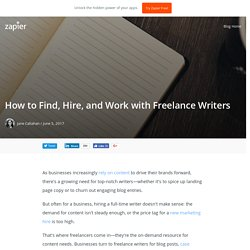 How to Find, Hire, and Work with Freelance Writers