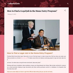 How to Find a Legal Job in the Home Entry Program?