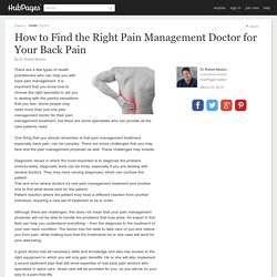 How to Find the Right Pain Management Doctor for Your Back Pain