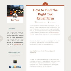 How to Find the Right Tax Relief Firm