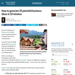How to generate 20 potential business ideas in 10 minutes