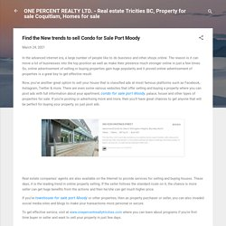 Find the New trends to sell Condo for Sale Port Moody