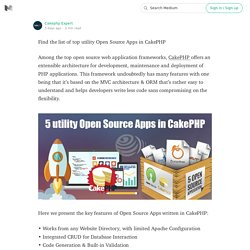Find the list of top utility Open Source Apps in CakePHP