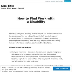 How to Find Work with aDisability
