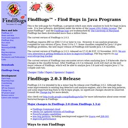 FindBugs™ - Find Bugs in Java Programs